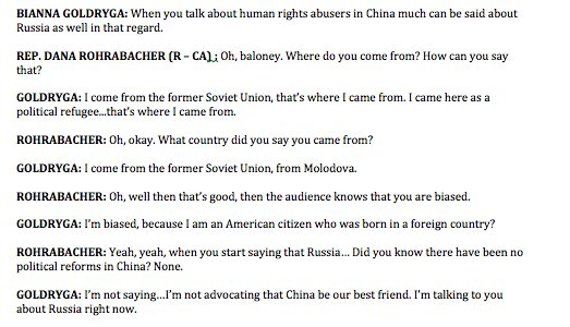 This is a REMARKABLE exchange between Rep. Dana Rohrabacher, who is trying to become Secretary of State, and a Yahoo anchor: