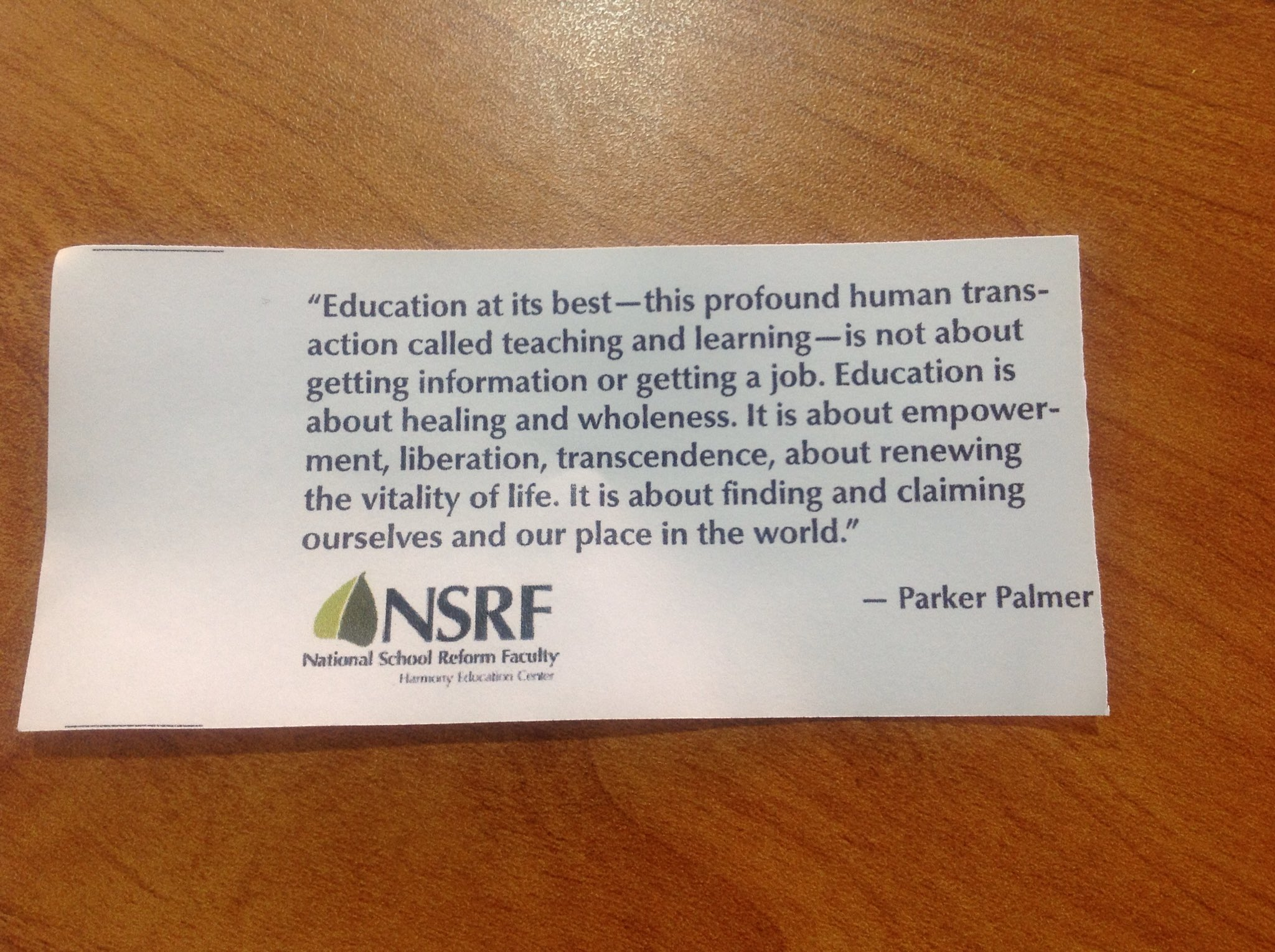 Great #criticalfriends quote for #AISQ8 ... Education is about healing and wholeness ... renewing the vitality of life.  (By Parker Palmer) https://t.co/7aJ8VwZKIS