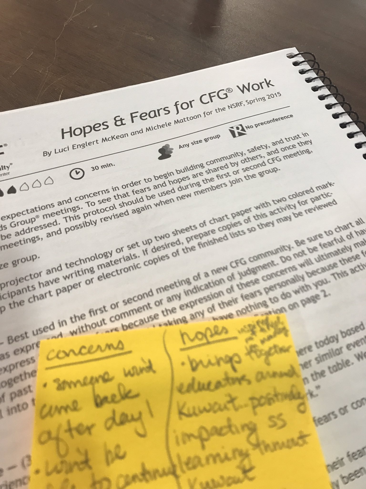 Sharing our hopes & fears of #CFGwork & participating in #CriticalFriends Coaches training https://t.co/bEr4jWzVZq