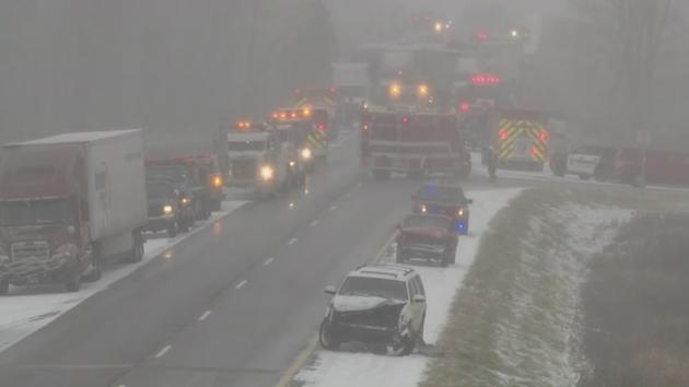 At least 2 dead in 30-vehicle pileup on icy Michigan interstate