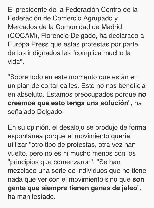 """¿Adivináis quiénes eran """"los comerciantes de Sol"""" que se supone se quejaban de la acampada 15M? Efectivamente: Florencio Delgado. https://t.co/gXllALkcz7"""