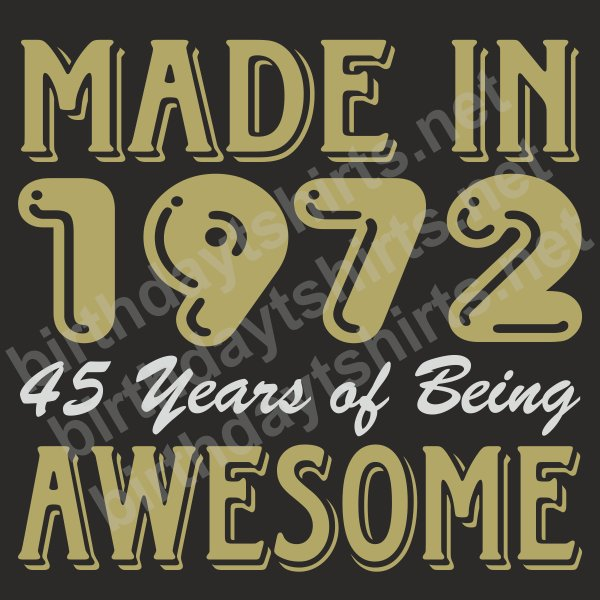 Birthday Shirts On Twitter Made In 1972 45 Years Of Being Awesome