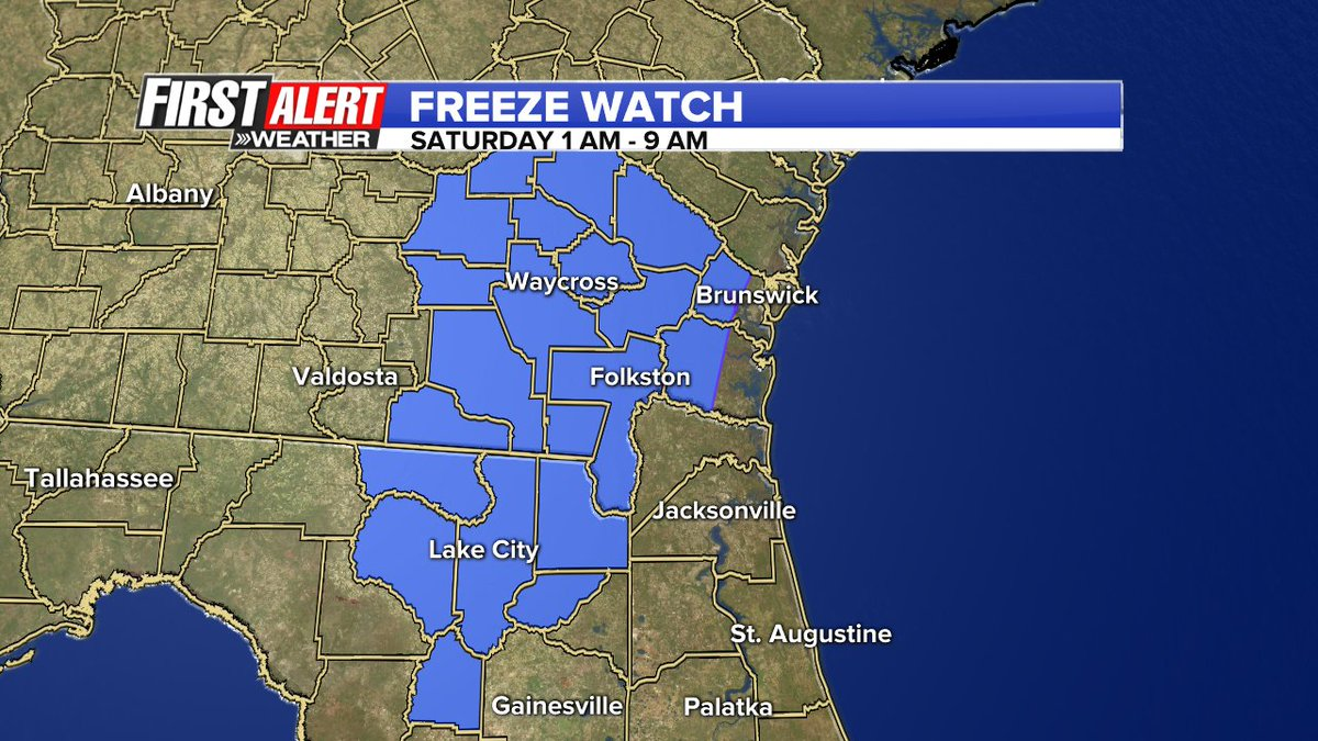 Freeze Watch just issued for inland NE FL & SE GA early Saturday. Plan to protect your plants & bring pets inside