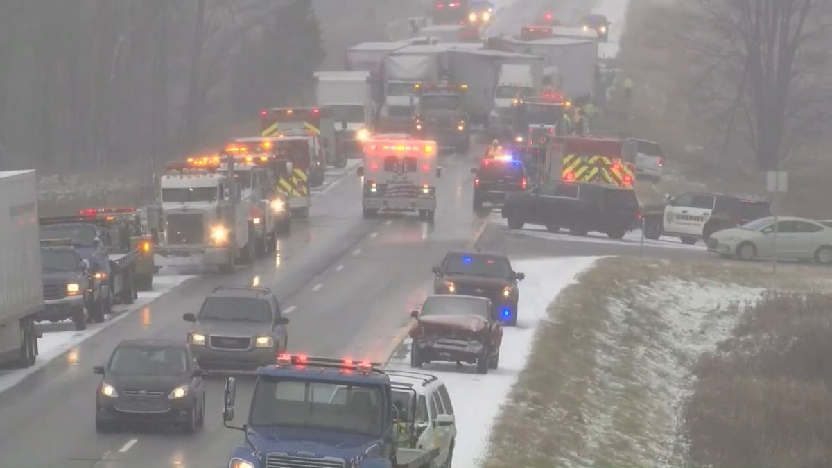 Two dead in a 30 car crash in Michigan. Live video from Livingston County