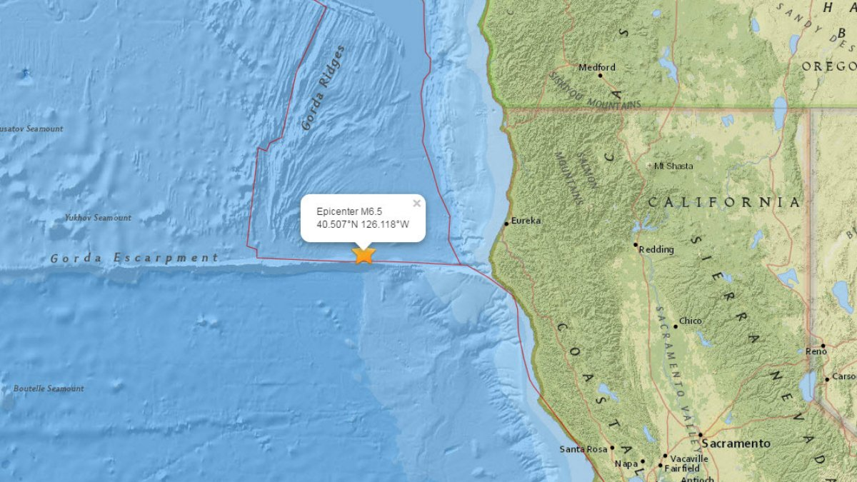 Ferndale, Calif. earthquake now downgraded to 6.5 magnitude, 100 miles off the coast.
