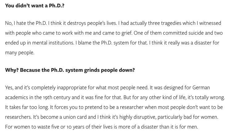 Freeman Dyson on why he hates the PhD system https://t.co/MLmOnujwp6 https://t.co/Xe28vmlOLj