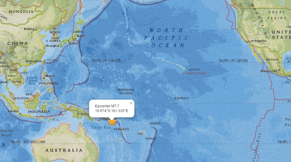 JUST IN: Powerful earthquake in SW Pacific;Tsunami Watch issued for Hawaii