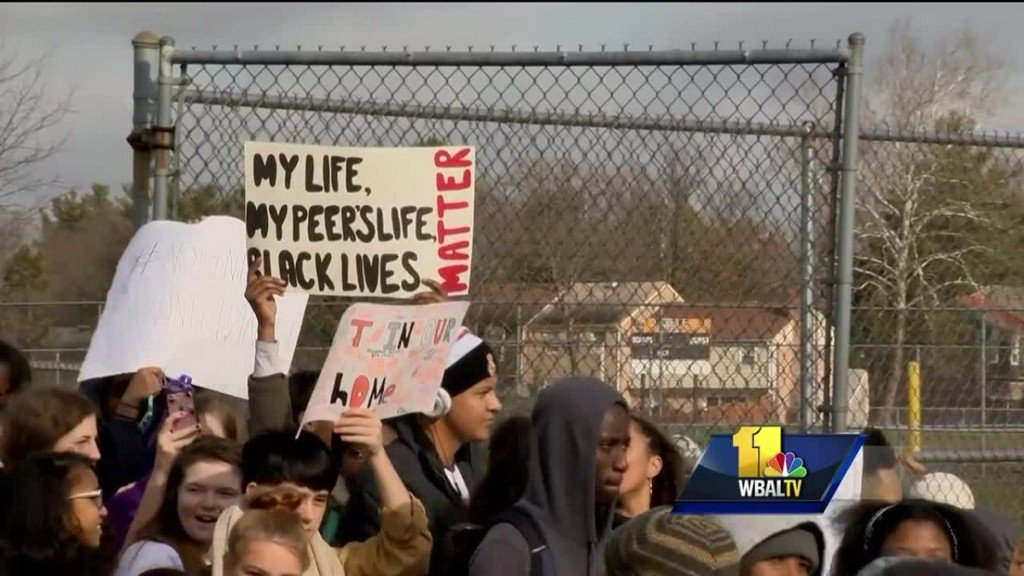 Students at Oakland Mills High School stage walkout