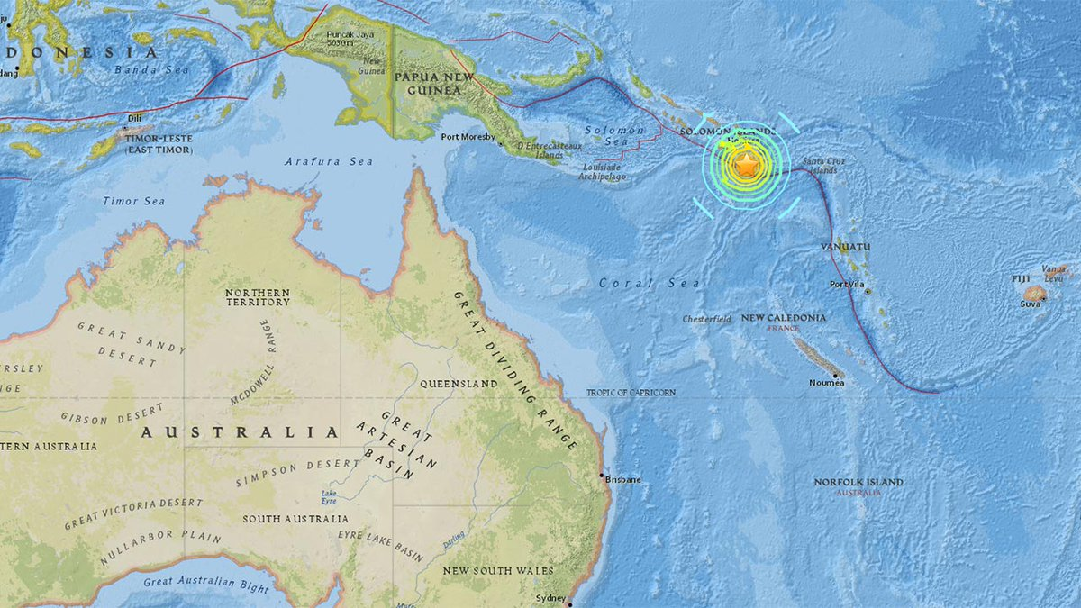 EARTHQUAKE 7.7-magnitude earthquake strikes near Solomon Islands, USGS says