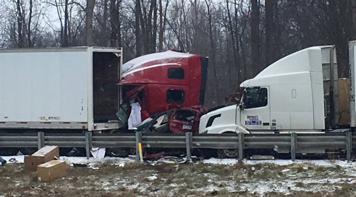 Cars and semis crushed together in massive pile-up I-96 West near Livingston/Ingham Co line @FOX2News