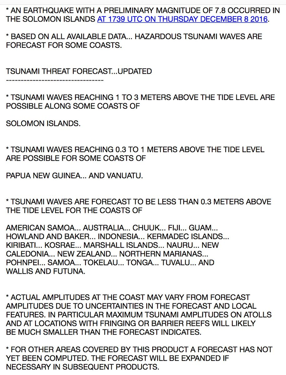 New information and possible tsunami heights for western Pacific after 7.8 Solomon Islands earthquake - PTWC