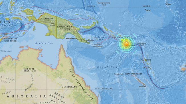 Tsunami Warning issued after 7.7M earthquake near Solomon Islands