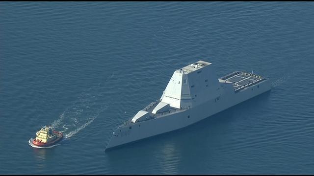 Navy's futuristic-looking USS Zumwalt arriving in homeport.