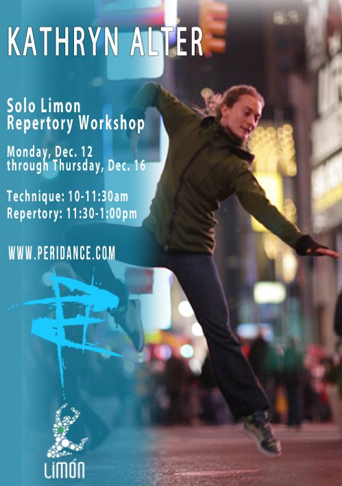 Join Limon Dance Company soloist/ master teacher Kathryn Alter 12/12-12/16 for classes and Solo Repertory sessions! http://ow.ly/2LuY306Q01T