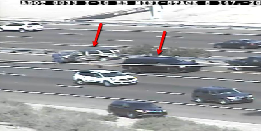 I-10 eastbound at the SR 51 Mini-Stack: A crash is blocking the HOV lane. PhxTraffic