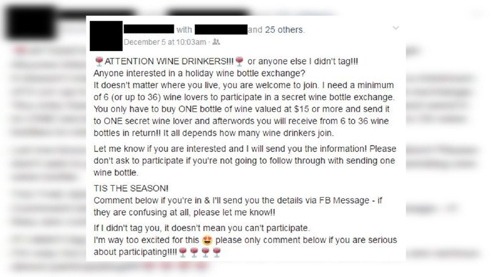 Wine lovers take pause! Here's how a Facebook holiday exchange can turn to sour grapes...