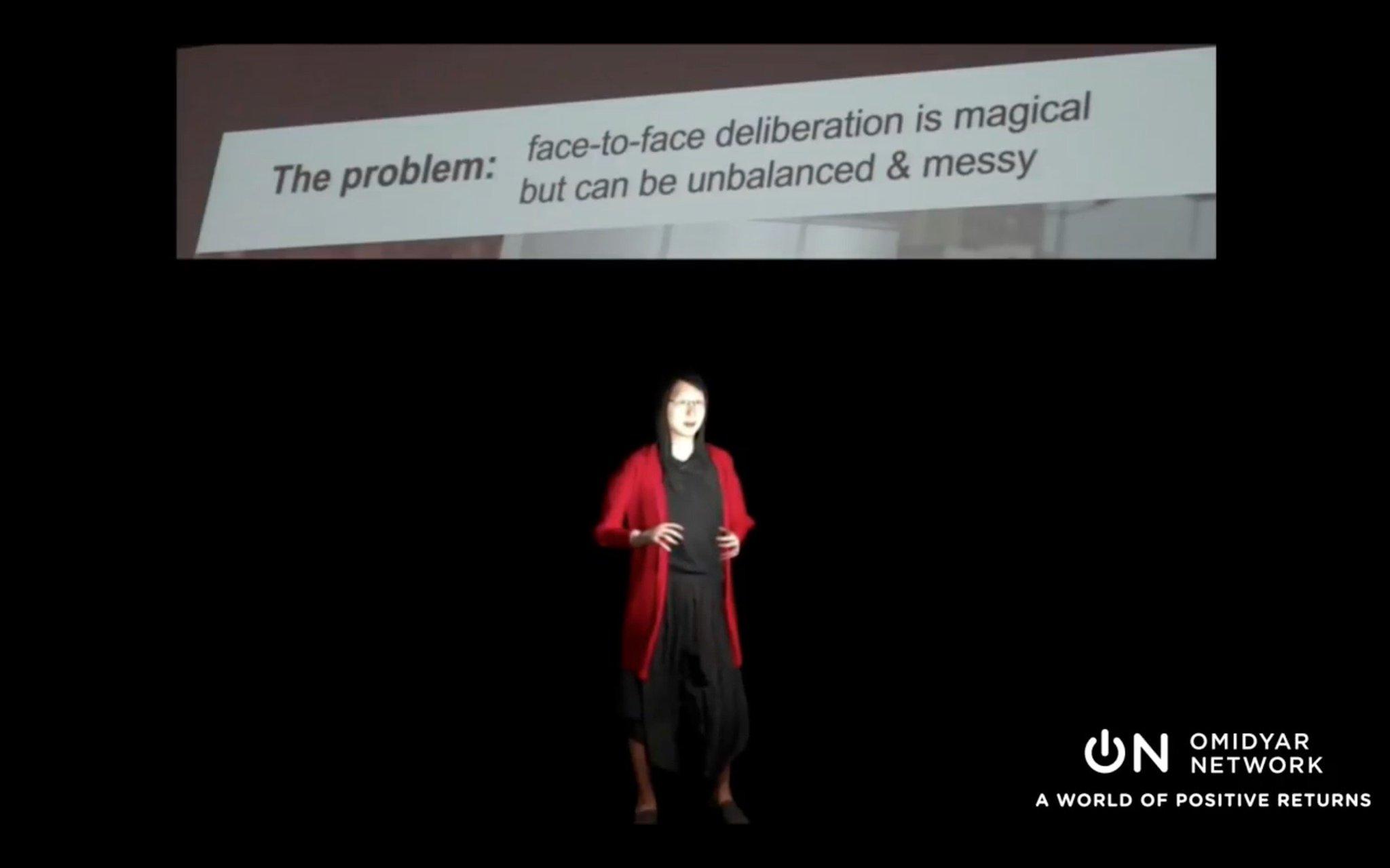 Quand @audreyt intervient grâce à un avatar à la #DemocracyNight pour évoquer le rôle de la réalité virtuelle 😮 #OGP16 https://t.co/p6uErYD4e8