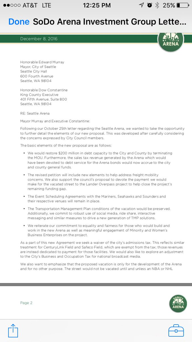Breaking: New @sonicsarena letter to Ed Murray and Dow Constantine #NBA #NHL https://t.co/kUMNjw8wIl