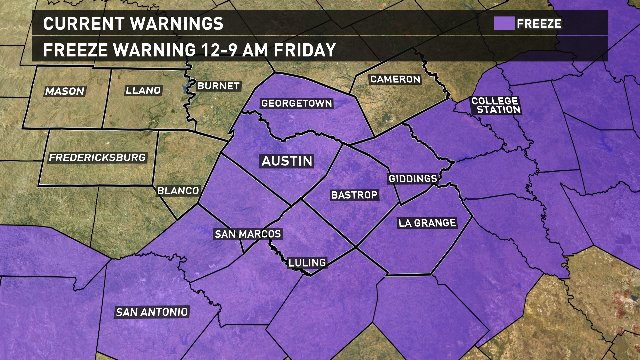 FREEZE WARNING along and east of I-35 early Friday. Hill Country counties will also see freeze overnight. atxwx