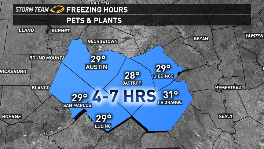 Freeze Warning: Parts of the area will be at or below freezing for more than 12 hours tonight: @kvue atxwx