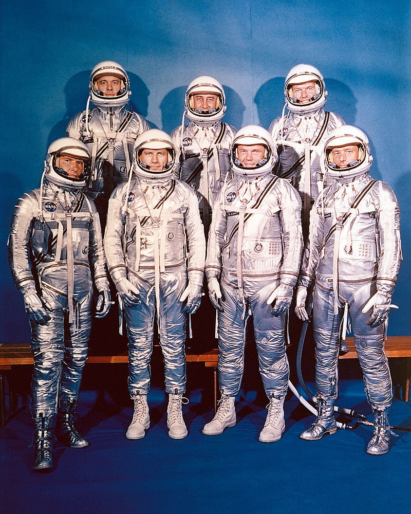 I'll sign off with this...  That classic Mercury 7 photo. John Glenn was the last, surviving member.  #TheRightStuff https://t.co/DDPjFN5rHg