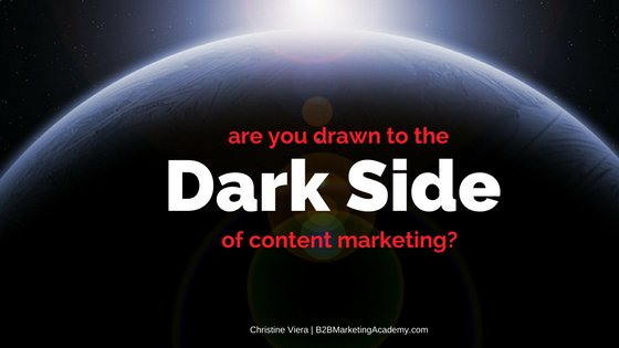 Are You Drawn to the Dark Side of Content Marketing? - B2B Marketing Academy https://t.co/mpJCRxkVSe https://t.co/MV19liNgqc