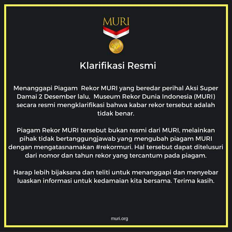 Seandainya ini memang benar pernyataannya MURI, pada boikot MURI kayak pada boikot Sari Roti gak? https://t.co/jVXt0WZxmm