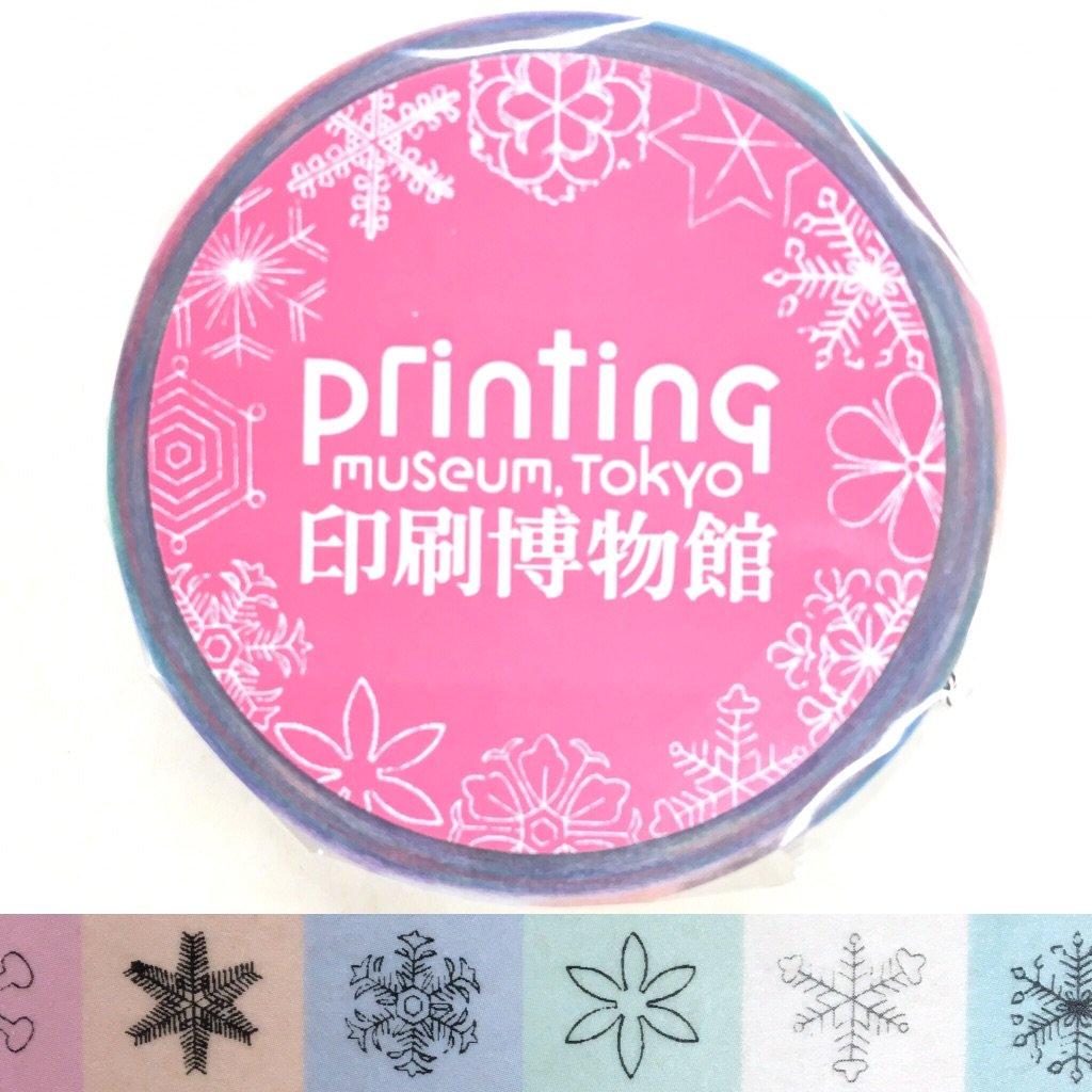 お待たせいたしました! ☆ミュージアムショップ新商品☆ 『雪華図説』より、マスキングテープ(細) の登場です。 #印刷博物館 #printing #samurai #土井利位 #snow #雪