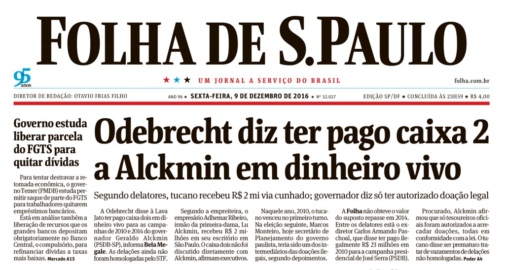 O mesmo delator da Odebrecht que revelou sobre os R$ 23 milhões a Serra, diz que Alckmin teria recebido R$ 2 milhões em caixa 2: