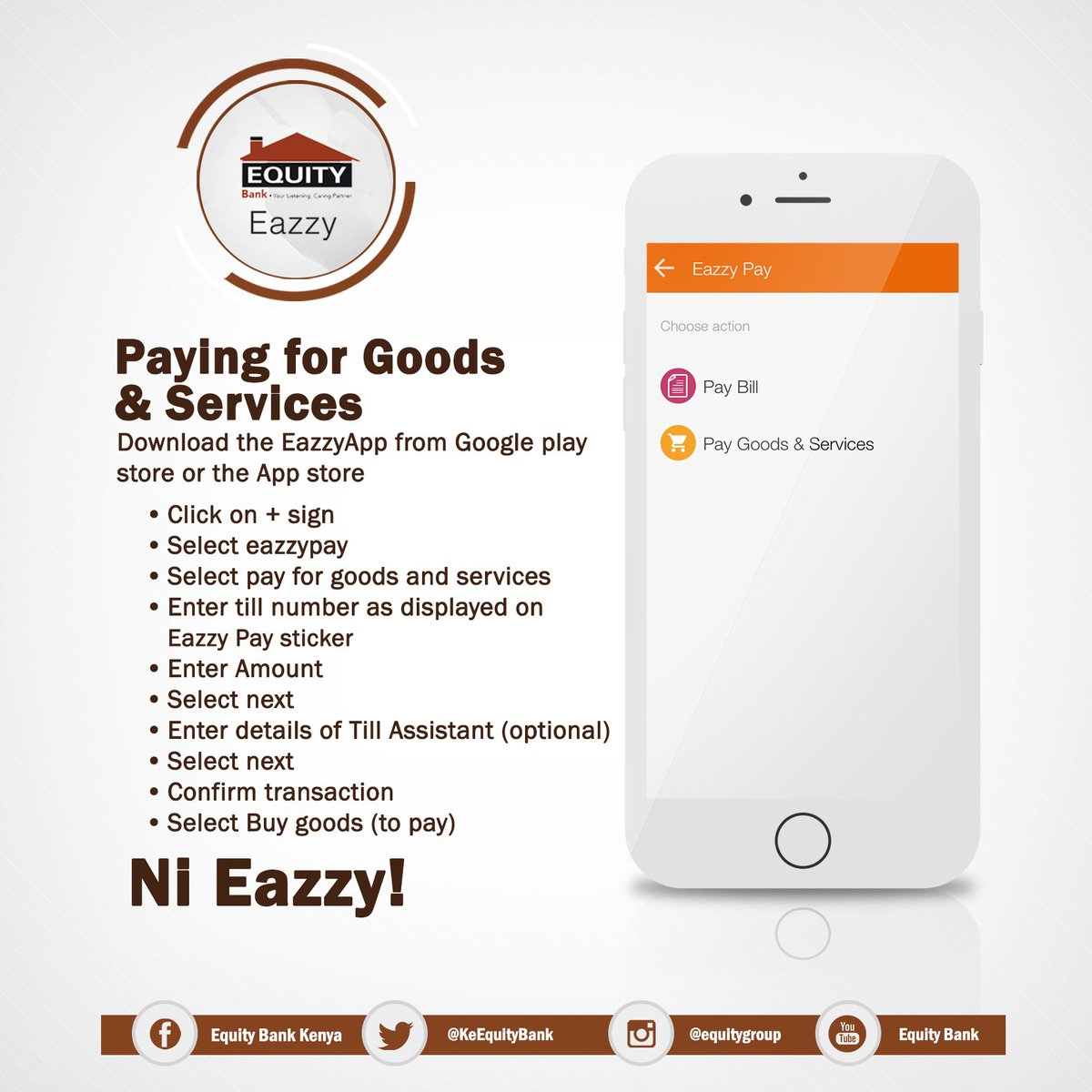 Equity bank kenya on twitter hi merchants accepting eazzy pay as a payment mode have the stickers displayed at their outlets kindly look out for them