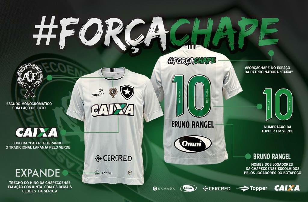 794252ae51cee Camisa de homenagem do Botafogo à Chapecoense!  ForçaChape (Arte  Gabriel  Assis