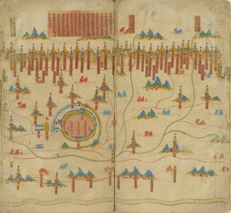 极难得一见的绢本彩绘的军事地图,描绘的是陕北延绥镇的军事要塞: https://t.co/6R20OaFqcc #maps https://t.co/w0tjIUhou9