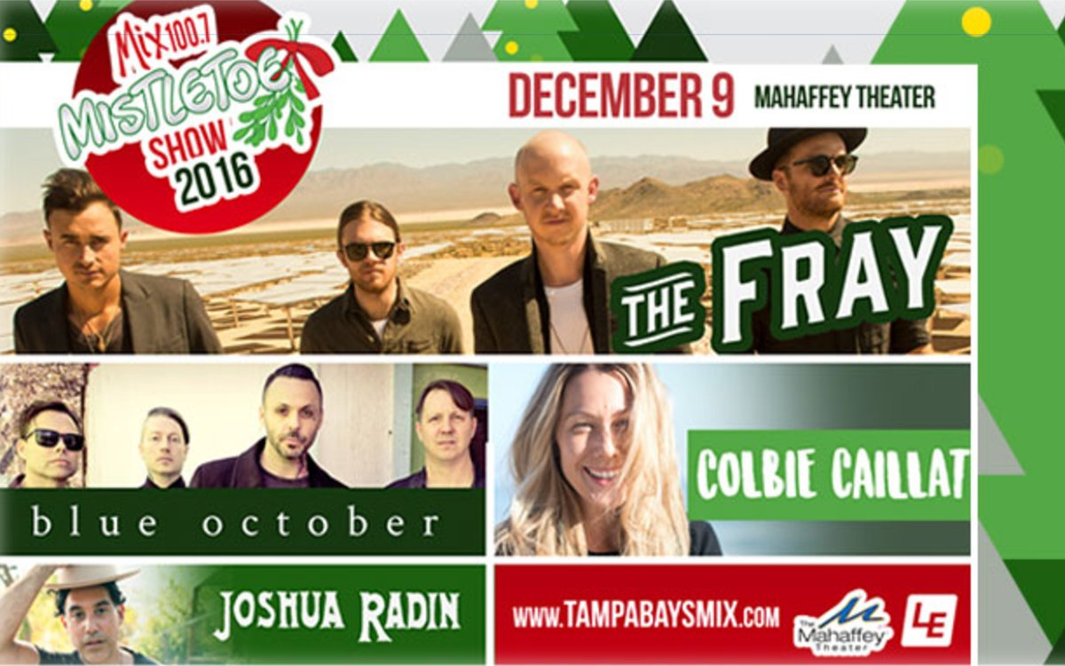 Warm up tonight in #StPete with @TheFray, @ColbieCaillat during @tampabaysmix Mistletoe Show! TICKETS >> https://t.co/7D2yIYmWtm https://t.co/GE6Zvo4KW9