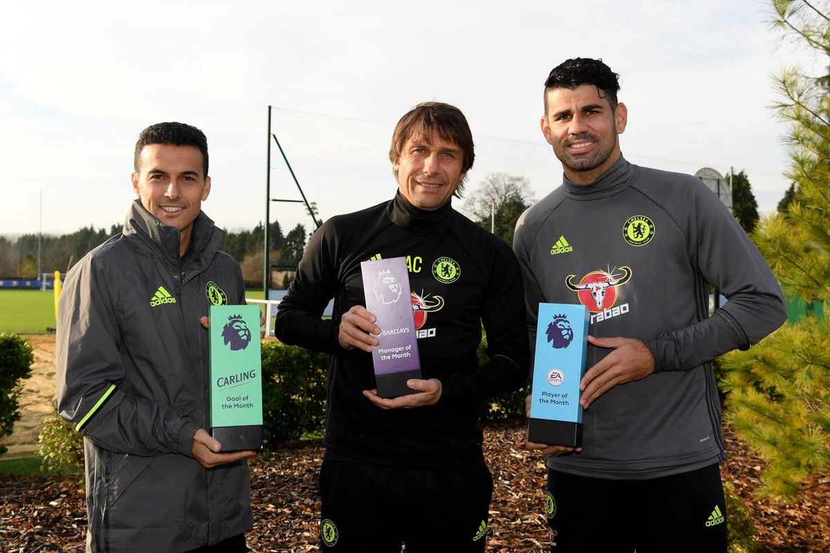 Barclays Manager of the Month ✅ EA Sports Player of the Month ✅ Carling Goal of the Month ✅   That's a clean sweep for @ChelseaFC! 👌