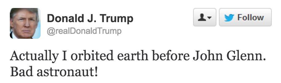 RT @haveigotnews: Donald Trump responds to John Glenn's death. https://t.co/3bG8Limjvk