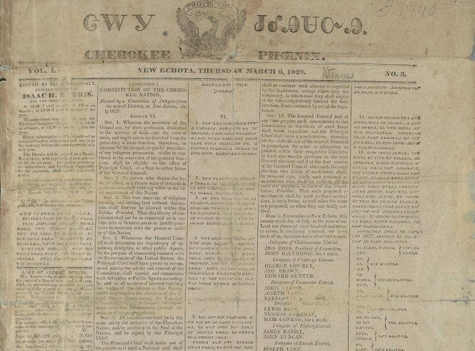 """Cherokee Phoenix"" (ᏣᎳᎩ ᏧᎴᎯᏌᏅᎯ) was the first Native American newspaper, and it was written in Cherokee and English: https://t.co/qB81b5LfAp https://t.co/taI0M2LeP9"