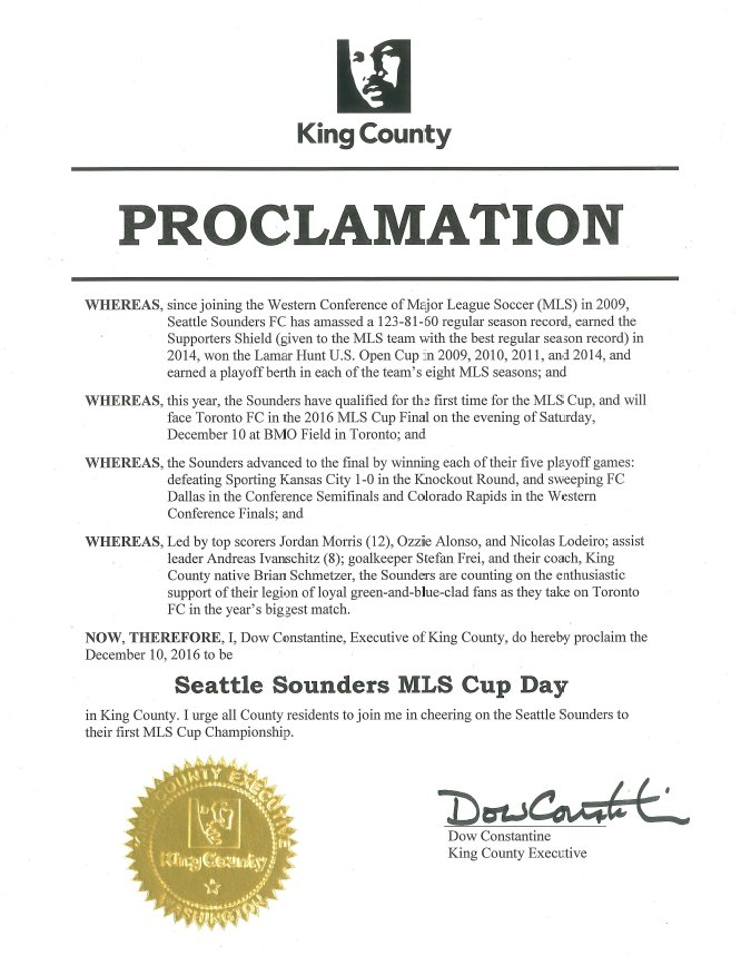 I proclaim Saturday Seattle #Sounders MLS Cup Day in King County #MLSCup #scarvesup https://t.co/elNC4XbiZ5