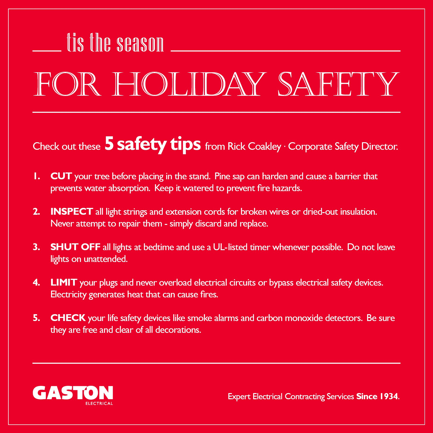 Gaston Electrical On Twitter Tis The Season For Holidaysafety Wiring Smoke Detectors Off Lighting Circuit Check Out These Top5 Tips From Our Gastonelec Corporate Safety Director