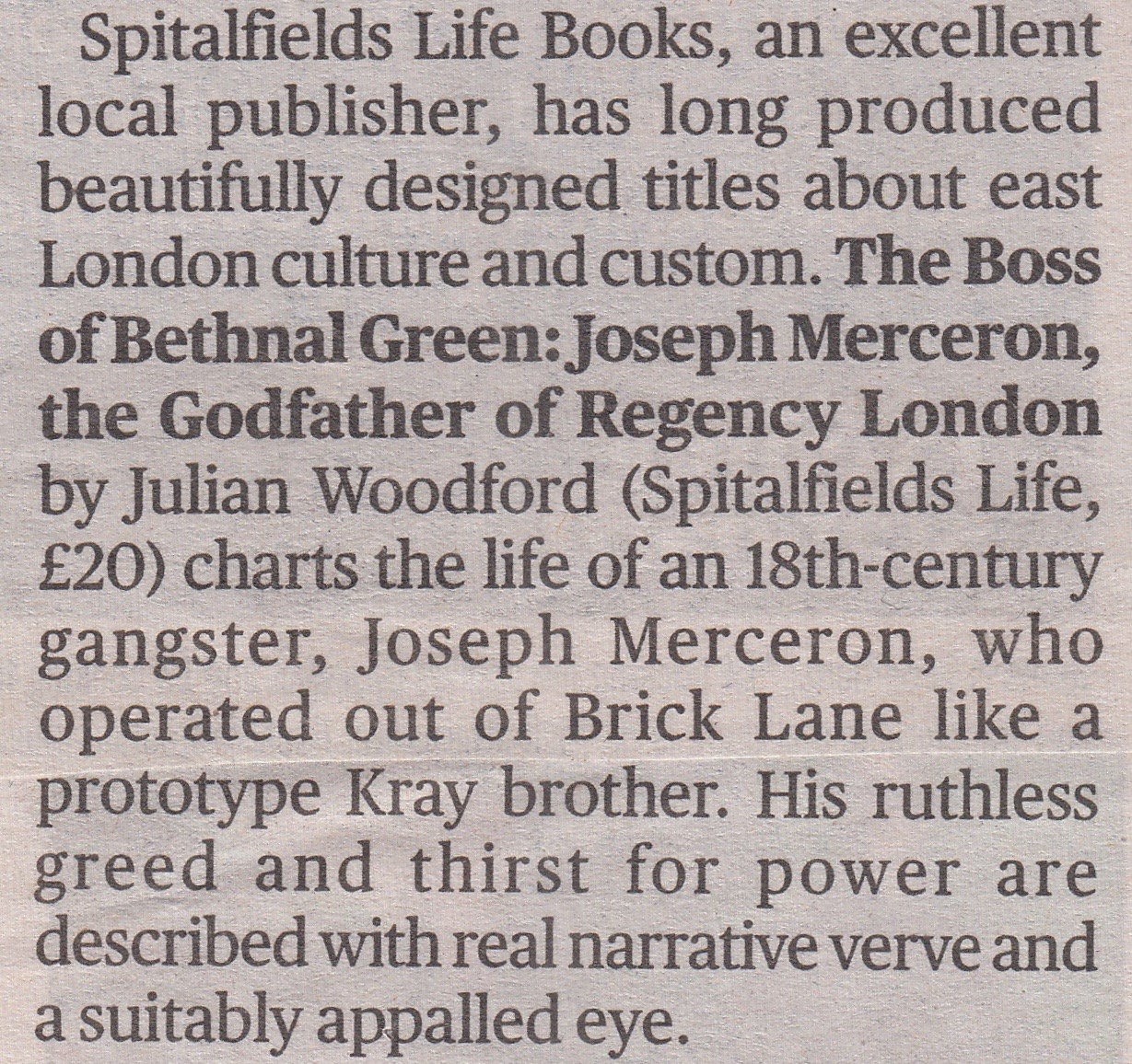 We are thrilled that the Evening @standard chose the BOSS OF BETHNAL GREEN as one of the Best London Books of the Year! @josephmerceron https://t.co/beQ1orSJLU