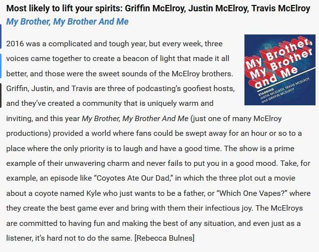 This @TheAVClub quote about @MBMBaM sums up the McElroy charm pretty well: https://t.co/1tl2hp5Zzg