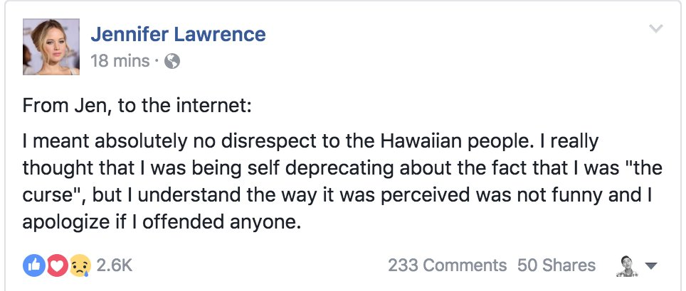 I'm all about apologies and forgiveness but It doesn't feel like Jennifer Lawrence understands what she did wrong... https://t.co/iNN4e0GyBN