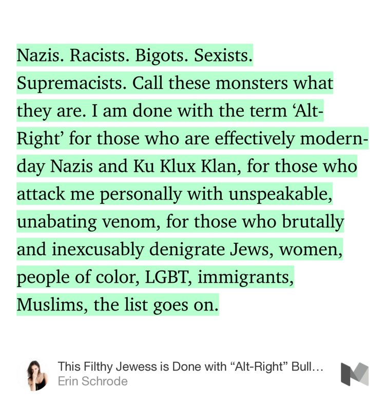 """""""This Filthy Jewess is Done with 'Alt-Right' Bullshit""""—@ErinSchrode https://t.co/G7PF5VTFG2 https://t.co/zw0lCaY8tk"""