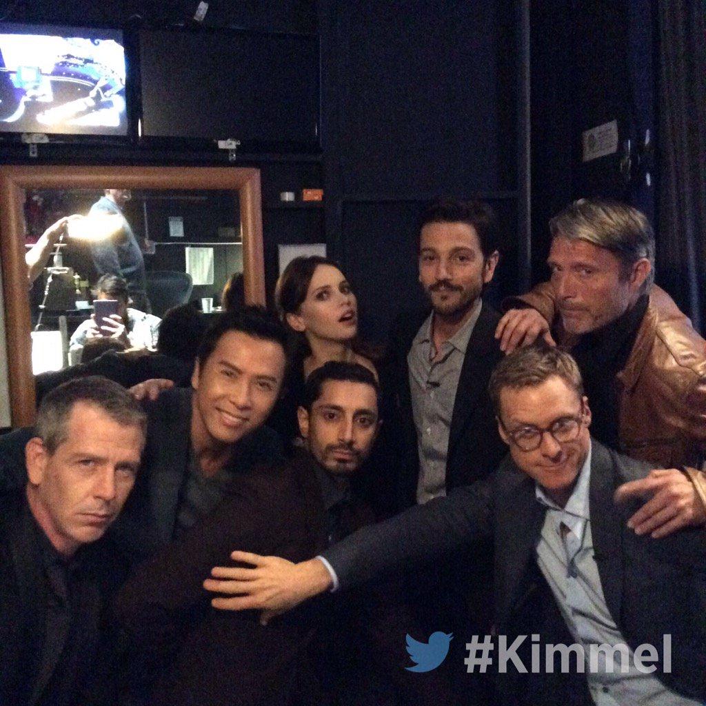 Backstage #Kimmel #FelicityJones @DiegoLuna_ @AlanTudyk @DonnieYenCT #BenMendelsohn @RizMC #MadsMikkelsen #RogueOne