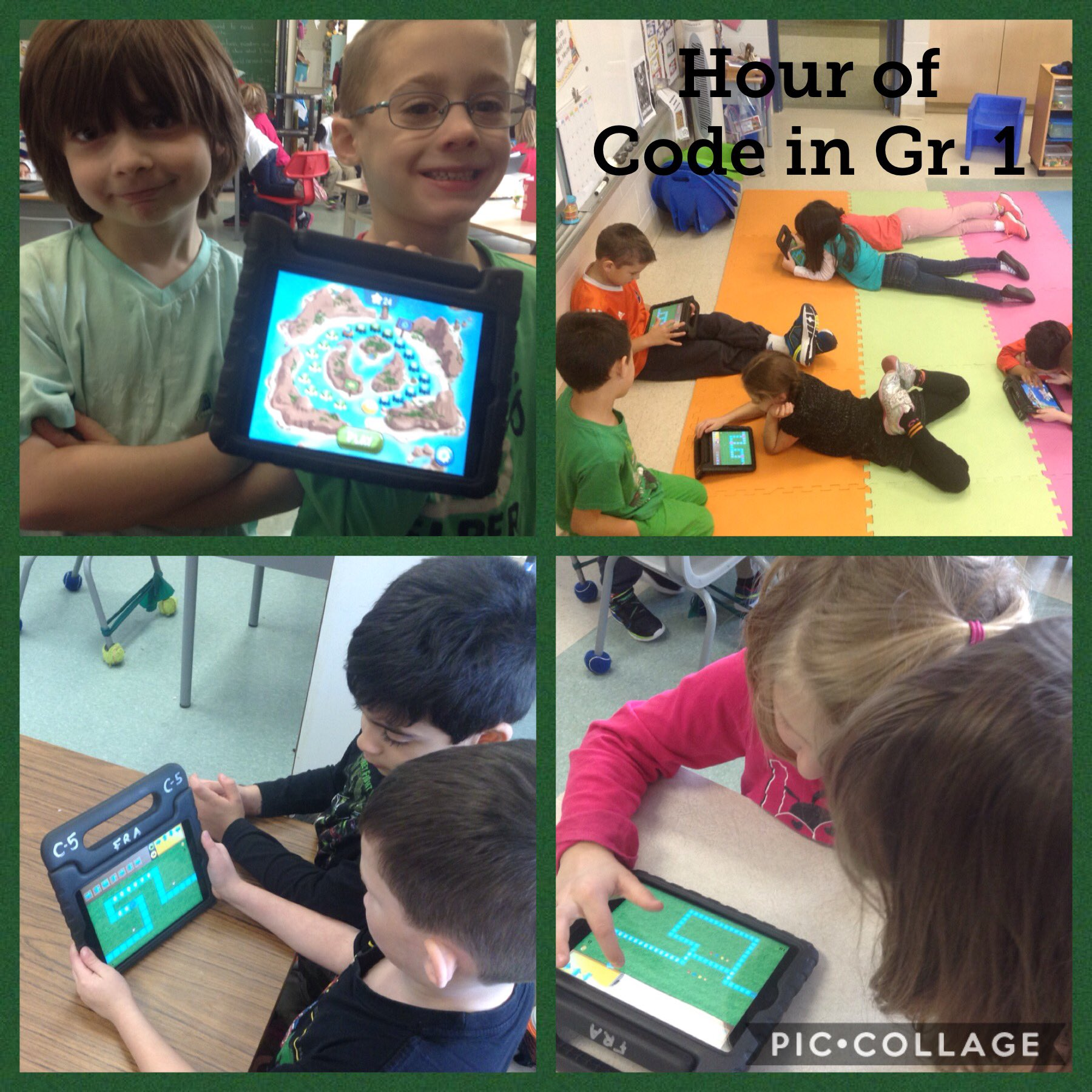 Hour of Code in grade 1. A lot of fun learning. #ocsb @FRAAssisiSchool #ontariocodes @boxislandgame @kodeable @PlayTheFoos https://t.co/zH82bXqeqQ