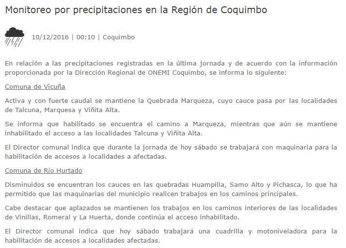 RT @NodoRiesgo 00:10 hrs ONEMI: Monitoreo por precipitaciones en la Región de Coquimbo