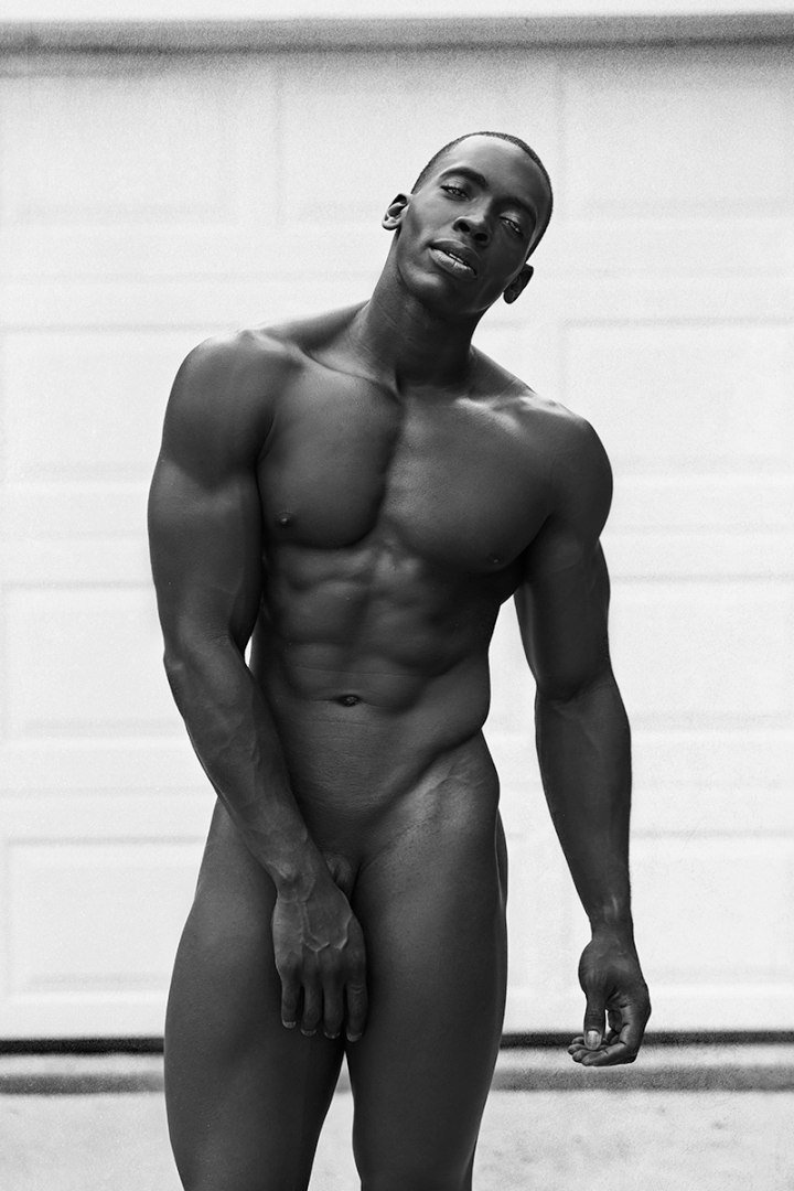 Naked strong black man