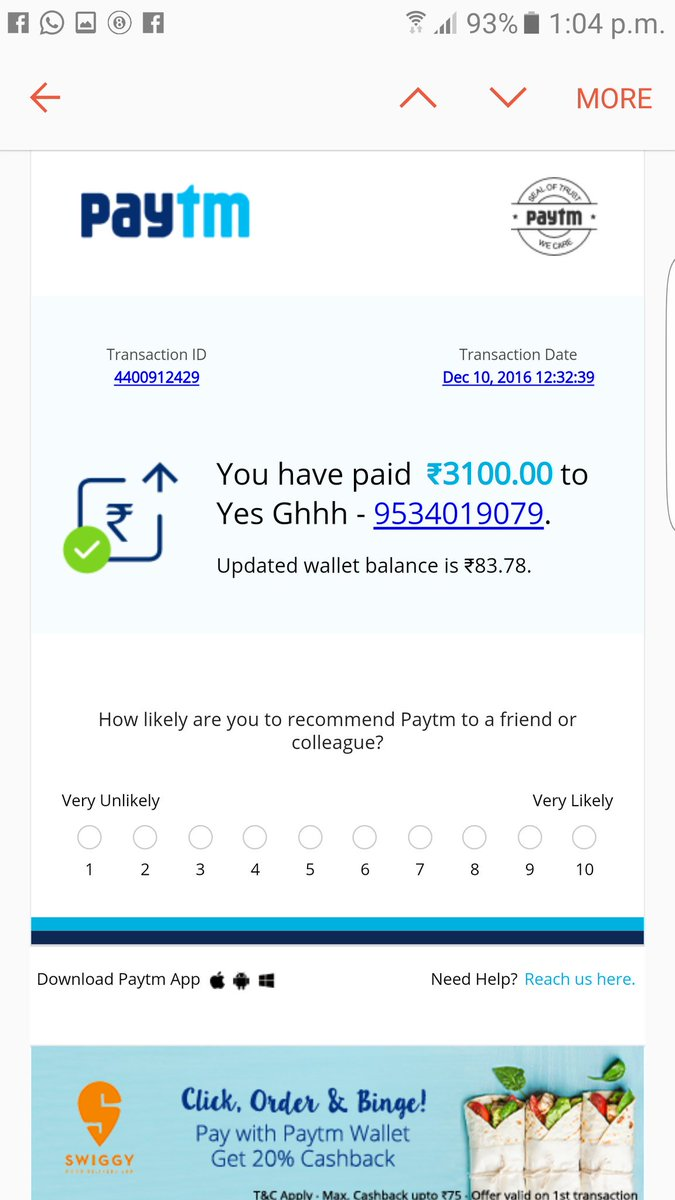 Fake Paytm Number