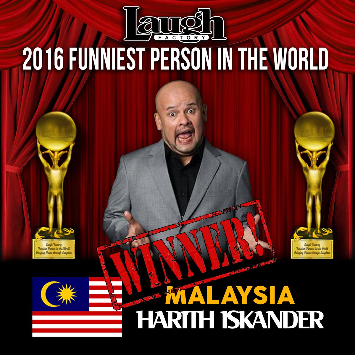 Congratulations @HarithIskander- #LaughFactory's Funniest Person in the World for 2016! https://t.co/732t2CZnhX
