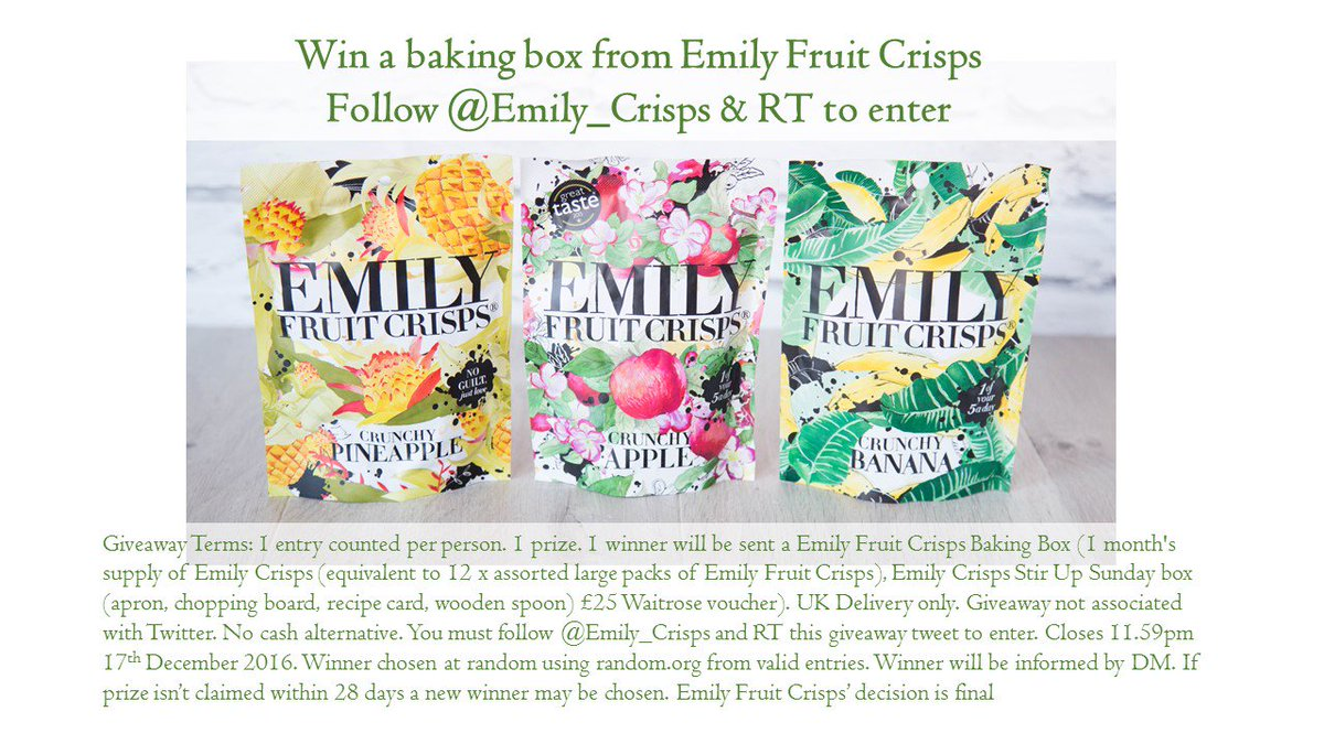Follow @emily_crisps & RT to #win a baking box of goodies.  T&Cs apply. #BakeWithEmilyCrisps https://t.co/hC1yR4Ig0y