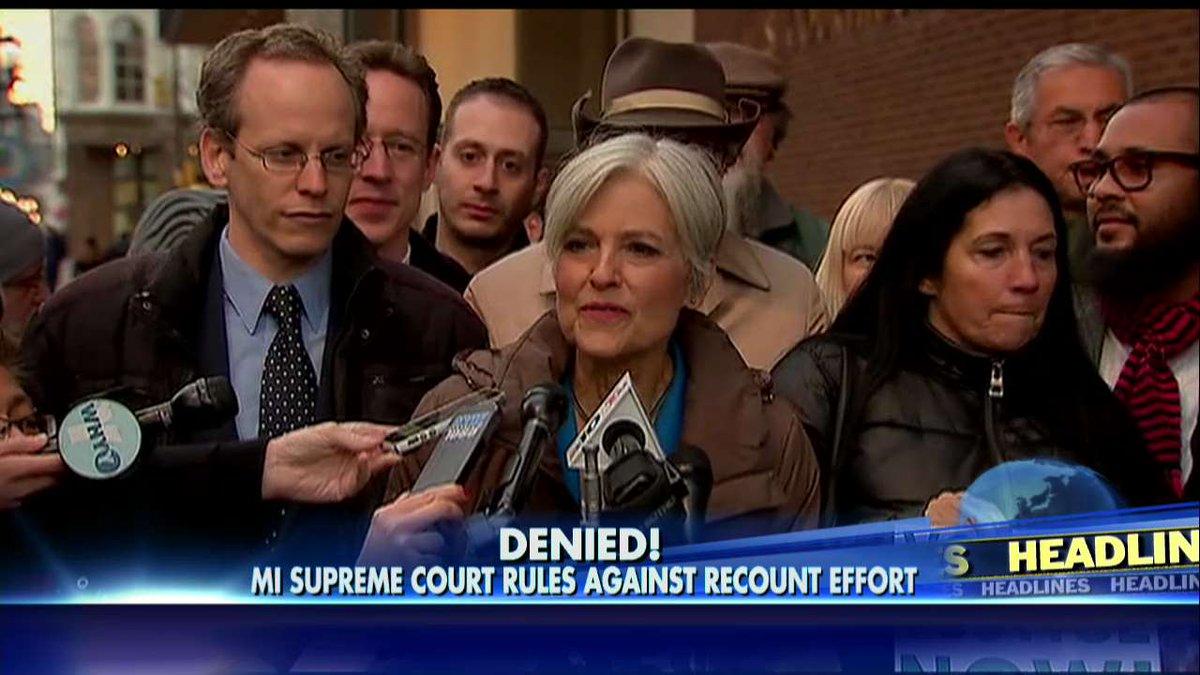 Denied! MI Supreme Court rules against recount effort.